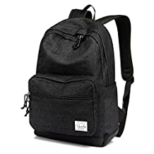 Vaschy Unisex Denim School Backpack Casual Rucksack 15 inch Laptop Travel Backpack with Water Resistant Cover