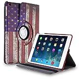 TNP iPad Mini Rotating Case (US Flag) 360 Degree Stand Smart Cover Flip Protective PU Leather For iPad Mini 3, iPad Mini 2 & 1, Multi Viewing Angles, Auto Sleep & Wake Feature & Stylus Holder