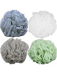 Goworth Large Bath Shower Sponge Pouf Loofahs 4 Packs 60g Each Eco-friendly Exfoliating Mesh Brush Pouf Bath Shower Ball Sponge 4 Colors-Exfoliate, Cleanse, Soothe Skin