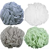 Image of Goworth Large Bath Shower Sponge Pouf Loofahs 4 Packs 60g Each Eco-friendly Exfoliating Mesh Brush Pouf Bath Shower Ball Sponge 4 Colors-Exfoliate, Cleanse, Soothe Skin