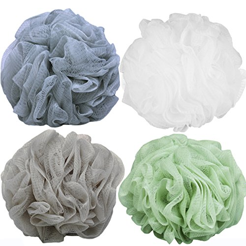 Goworth Large Bath Shower Sponge Pouf Loofahs 4 Packs 60g Each Eco-friendly Exfoliating Mesh Brush Pouf Bath Shower Ball Sponge 4 Colors-Exfoliate, Cleanse, Soothe Skin ()