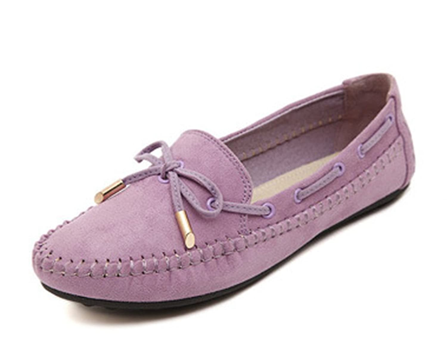 Aisun Women's Casual Sweet Bowknot Slip On Loafers