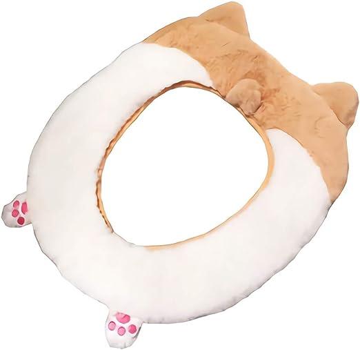 Gifts Treat Cubierta de Asiento Accesorios de ba/ño de Estilo Animal Lindo Alfombra de ba/ño de Felpa Suave Alce