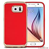 Galaxy S6 Case,S6 Case,Cokaunion*New Arrivals[Shock-Absorption] [Drop Protection] [Brushed Metal Texture]Slim Lightweight Anti-slip Premium Protective for Samsung Galaxy S6 (Red Gold)