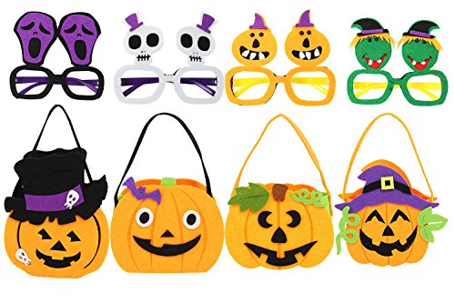 Halloween Pumpkin Trick or Treat Tote Bag and Cosplay Glasses Costume Party Photo Booth Props for Kids(Set of 4)