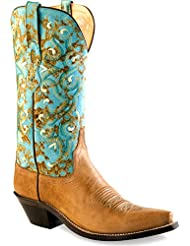 Old West Womens and Turquoise Western Boot Snip Toe - Lf1542