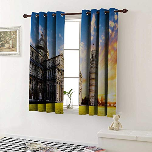 shenglv Italy Room Darkening Wide Curtains Place of Miracoli Complex with The Leaning Tower of Pisa in Front Tourist Attraction Window Curtain Drape W108 x L72 Inch Multicolor