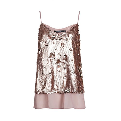 OThread Women's Glitter Sequins Strap Tank Top Cami Blouse (Large, Rose Gold) (Gold Glitter Shirt)