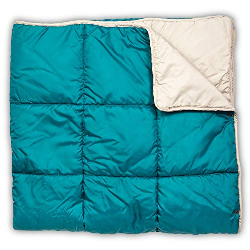 Leisure Co Ultra-Portable Outdoor Camping Blanket - Windproof, Warm, Lightweight and Compact Packable Blanket - Perfect for Camp Trips, Stadium Games, Travel and Picnics (Teal/Greige)