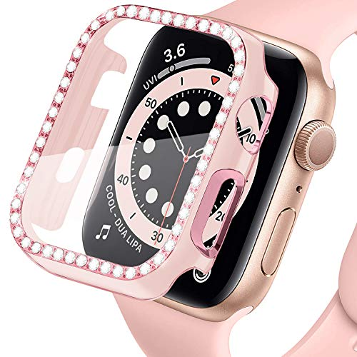 LOBKIN Colorful Bling Crystal Diamond Shiny Frame Apple Watch Case Tempered Glass Screen Protector Compatible iWatch Series SE/6/3 Bumper Smartwatch Full Cover Protective Case (Pink-Pink, 38mm)