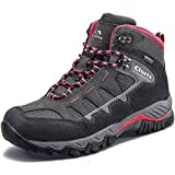 Clorts Women's Pioneer Hiking Boots Waterproof Suede Leather Lightweight Hiking Shoes Dark Grey/Pink US Women Size 8.5 Medium Width