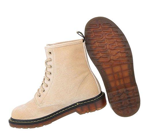 Stylische Damen Stiefeletten | Worker Boots Schnürung | Halbschaft Stiefel | Damenschuhe Leder-Optik | Punk Stiefel Schuhe | 8-Fach Schnürstiefelette | Schuhcity24 Beige