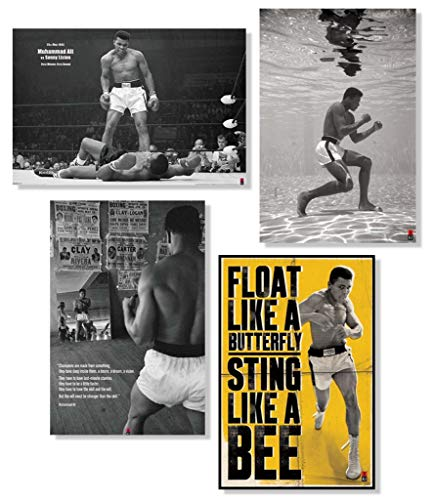 Pyramid America Set of 4 Muhammad Ali Boxing Sports Motivational Fan Collection Poster Set Bundle 24x36 inch