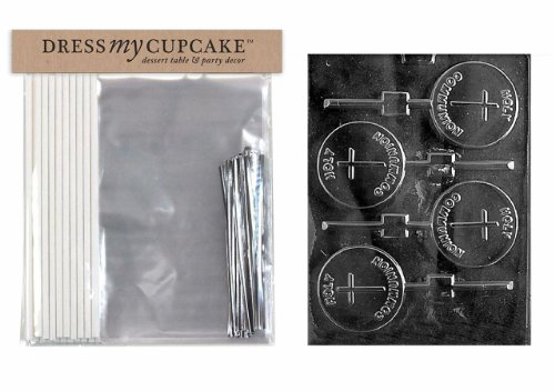 Dress My Cupcake DMCKITR026 Chocolate Candy Lollipop Packaging Kit with Mold, Holy Communion Lollipop by Dress My Cupcake