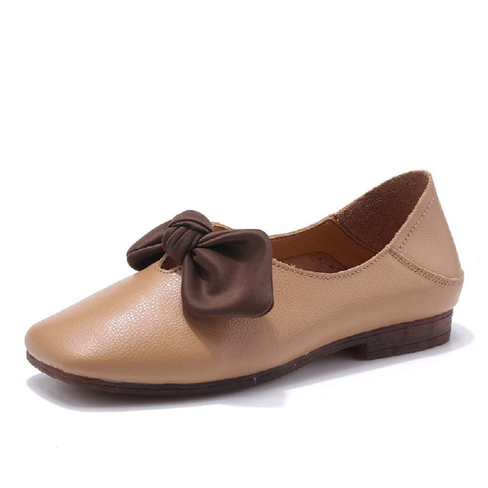 Qiusa Ballerines en on Cuir Femmes Knot Soft Marron Comfort : Slip on Chaussures (coloré : Marron, Taille : EU 36) Marron 9fa9e2a - automatisms.space
