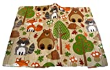 Autumn Harvest Animals Vinyl Tablecloth - Hedgehogs, Bears, Raccoons, Foxes (60'' Round)