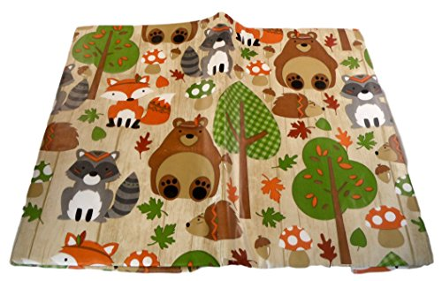 Autumn Harvest Animals Vinyl Tablecloth - Hedgehogs, Bears, Raccoons, Foxes (60'' Round) by Bountiful Harvest