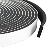 Door Weather Stripping Adhesive Foam Tape Insulation Soundproofing Neoprene Rubber 1/2 Inch Wide X 1/8 Inch Thick X 50 Feet Long (3 Rolls of 16.5 Ft Long Each)
