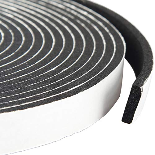 Adhesive Foam Tape 1/2 Inch Wide X 1/8 Inch Thick, Insulation Soundproofing Neoprene Rubber Door Weather Stripping, Total 50 Feet Long (3 Rolls of 16.5 Ft Long Each)