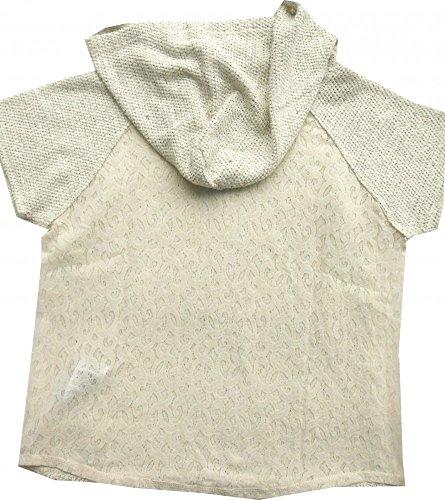 Le Temps Des Cerises stylisches Kapuzenshirt 1/2Arm creme Spitzenrücken Mixa