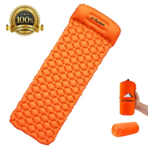 (A Outdoor Camping Sleeping Pads,Self Inflating Pads, Inflatable Air Mat with Pillow, 740g Ultralight Sleeping Mat with Small Packing Size,Air Mattresses Suit for Travelling, Camping, Hiking, Beach)