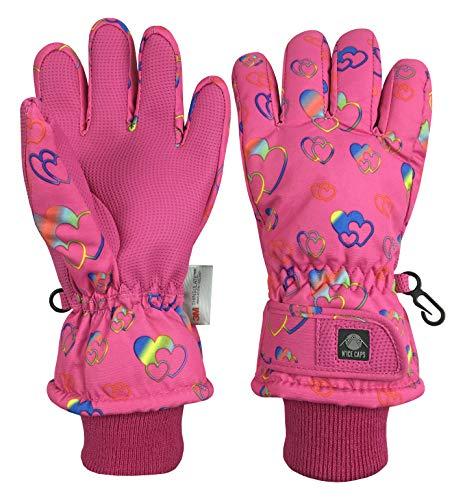 N'Ice Caps Girls Waterproof Thinsulate Fashion Design Winter Snow Ski Gloves (Fuchsia Hearts, 3-4 Years)
