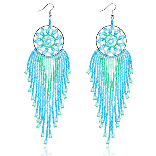 Royalbeier Beaded Earrings Oversized Handmade Seed Beaded Drop Earrings Long Beaded Navajo Indian Dangle Earrings for Women Ladies (DCE-01) ()