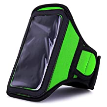 Green VG Neoprene Hardcore Workout Armband with 2 Piece Adjustable Velcro Strap for Sony Xperia J / Sony Xperia T / Sony Xperia V / Sony Xperia SL / Sony Xperia acro S / Sony Xperia GX / Sony Xperia neo L / Sony Xperia P/ Sony Xperia ion / Sony Xperia S / Sony Xperia TL Android Smartphones