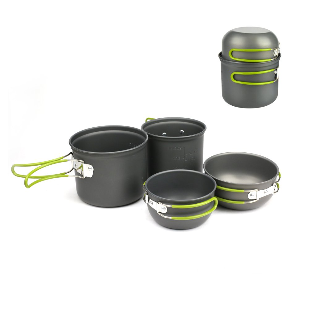 Donyer Outdoor Camping Cookware Set 4 Pieces, Lightweight Compact Durable Camping Bowl Pot Pan Cooking Mess Kit for Camping Backpacking Hiking Picnic for 2-3 Persons