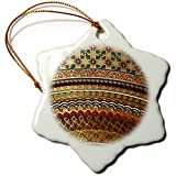 3dRose Gold-look stripe pattern with magen david stars - matte Middle Eastern arabian moroccan abstract - Snowflake Ornament, Porcelain, 3-inch (orn_155664_1)