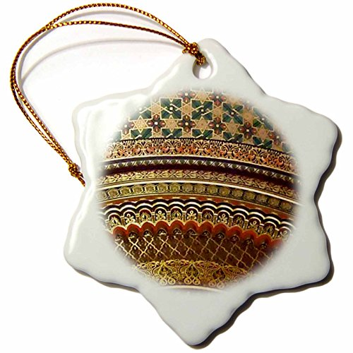 3dRose Gold-look stripe pattern with magen david stars - matte Middle Eastern arabian moroccan abstract - Snowflake Ornament, Porcelain, 3-inch (orn_155664_1) by 3dRose