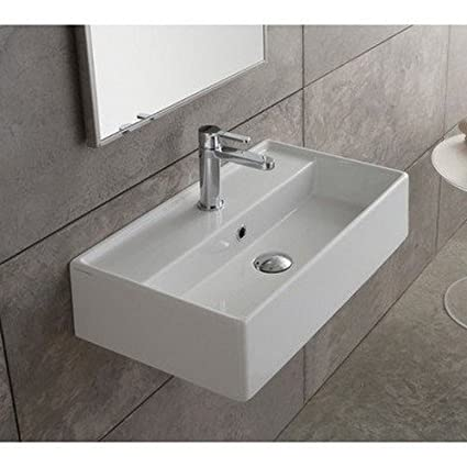 Scarabeo 5003 No Hole Teorema Rectangular Ceramic Wall Mounted/Vessel Sink,  White
