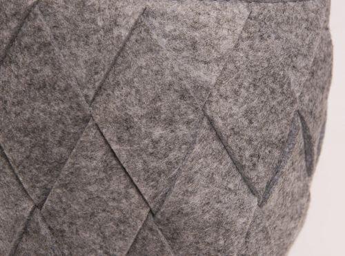 Filztasche hellgrau grau Filzkorb geflochten mit Kunstleder-Griffe L 26,5cm in hellgrau Einkaufstasche Einkaufskorb Dekotasche Aufbewahrungskorb Dekokorb Bastelkorb Filztasche