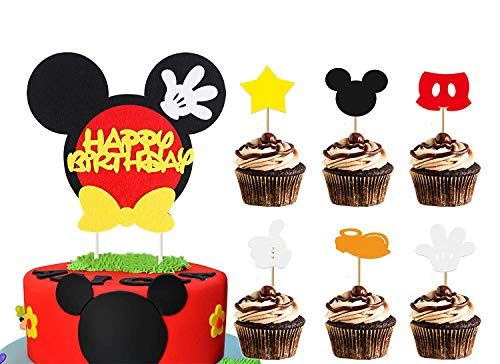 BeYumi Mickey Happy Birthday Cake Topper Cute Cupcake Decorations Mickey Themed Birthday Party Favors for Toddlers Baby Boys Girls (25PCS)