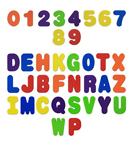 Bath Toys 36-Piece Set. Stick-On Foam Letters & Numbers by Baby Bibi. Full Set Floating Waterproof Bathroom Alphabet Toys. Bathtub Educational Toy, Promotes Reading and Counting ()