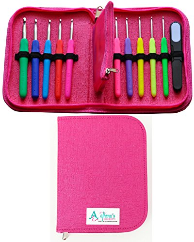 Crochet Hooks Set AMERICAN LETTER SIZES Ergonomic Handles D 3.25mm - L 8mm COMPLETE Crocheting KIT w/ Accessories in a STYLISH Crochet Needle Case Organizer - EXTRA Long Shaft for Super Chunky Yarns (10' Shaft)