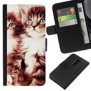 YiPhone /// Tirón de la caja Cartera de cuero con ranuras para tarjetas - GATITOS LINDOS - LG G2 D800