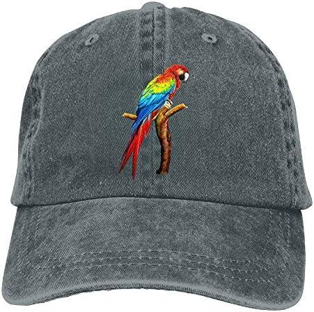 男性の女性のためのオウムデニム野球帽帽子調節可能な綿スポーツストラップキャップ