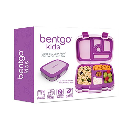 Bentgo Kids Childrens Lunch Box - Bento-Styled Lunch Solution Offers Durable, Leak-Proof, On-the-Go Meal and Snack Packing (Purple) by Bentgo (Image #4)