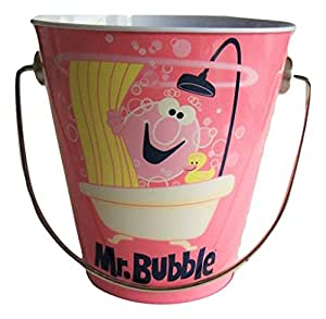 "Mr. Bubbles Tin Pail with Handle ~ Mr. Bubbles on Pink (4.5"" x 4.5"")"