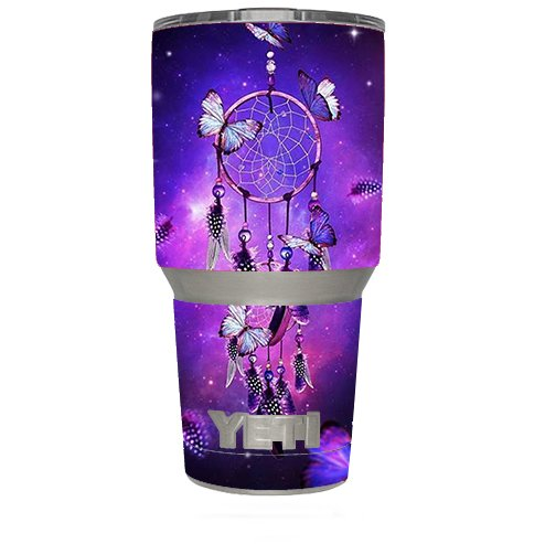 Skin Decal Vinyl Wrap (6-piece kit) for Yeti 30 oz Rambler Tumbler Cup / Dreamcatcher Butterflies Purple