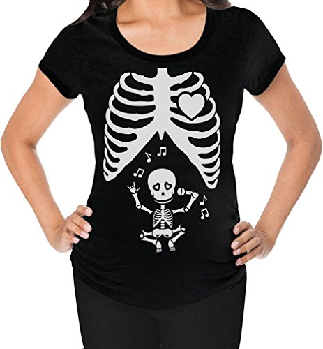 Tstars Halloween Funny Pregnant X-ray Rib Cage Skeleton Singing Baby Maternity Shirt Small Black ()
