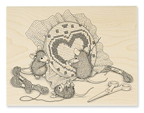 STAMPENDOUS House Mouse Wood Rubber Stamp Cross Stitch -