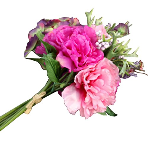 Fullkang 1 Bouquet 3 heads Faux Artificial Silk Floral Flower Bouquet Hydrangea Party Decor Craft (Pink)