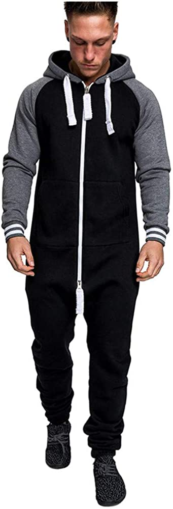 Mens Winter Jumpsuit Overall Onesie Hoodie Tracksuit Playsuit Fitness Jogger Sport Suit One Piece with Zipper M-3XL