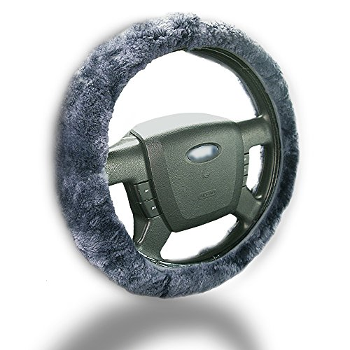 Zento Deals Soft Stretchable Sheepskin Grey Steering Wheel Cover Protector - A Must Have for All Car Owners for a More Comfortable Driving (Car Stering Wheel Cover compare prices)