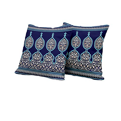 All of better Chaise Lounge Cushion Cover Moroccan,Bohemian Style Ancient Middle Eastern Turkish Figures Mystical Image Print,Teal Royal Blue Pillow Covers 14x14 INCH 2pcs ()