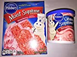 Pillsbury Moist Strawberry Supreme Cake Cupcake Mix & Pillsbury Strawberry Frosting Bundle