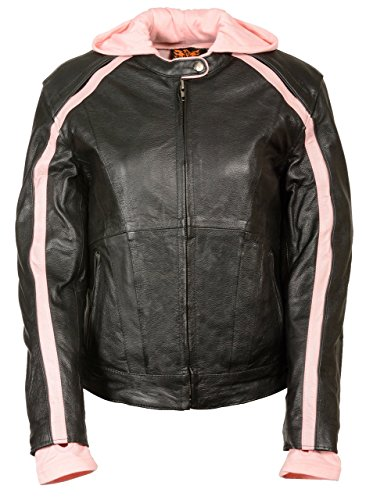 Womens Striped Leather Scooter Jacket Removable Hoodie, Black / Pink Size 2XL