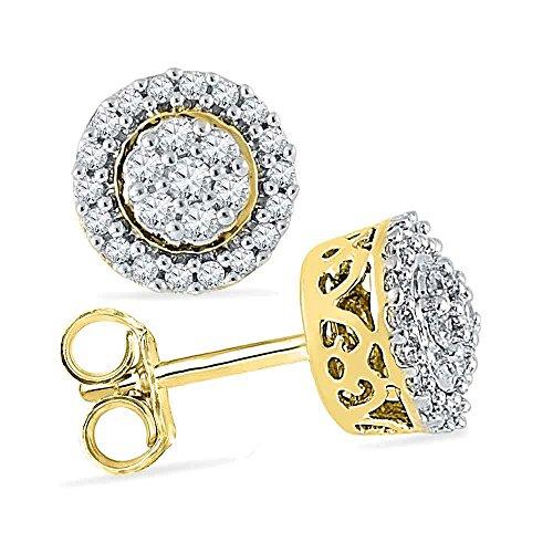 - 10k Yellow Gold Round Diamond Flower Cluster Earrings (1/4 Cttw)